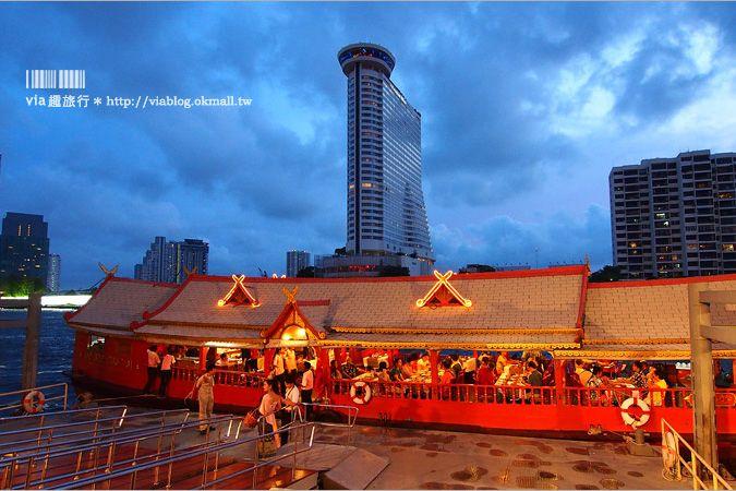 【曼谷遊河晚餐】悅榕莊遊艇晚餐~乘上復古典雅的遊艇,伴著夜景來趟湄南河上的奢華晚宴時光! @Via's旅行札記-旅遊美食部落格